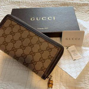 Gucci Monogram Bamboo Tassel Zip Around Wallet